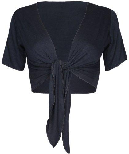 unita regolabile tinta donna donna top nuovo Nero Da cravatta anteriore cardigan corte ritagliata da Coprispalle a bolero maniche CXtqEd