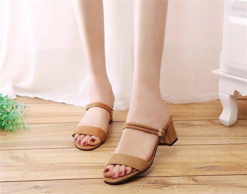Due spesso eleganti Sandali 39 in Temperamento Abiti camoscio Tacco da da Pantofole 34 festa sandali Estate donna XIE Moda Scarpe brown nBYPOP4xp