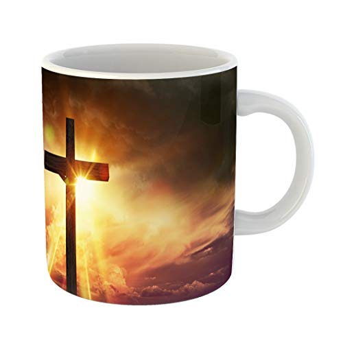 Emvency Funny Coffee Mug Crucifix Blessing Lights Large Wooden at Sunset with Right Side Copy Space 11 Oz Ceramic Coffee Mug Tea Cup Best Gift Or Souvenir