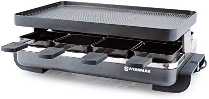 Swissmar KF-77041 Classic 8-Person Raclette with Reversible Cast Aluminum Non-Stick Grill Plate Crepe Top, Black
