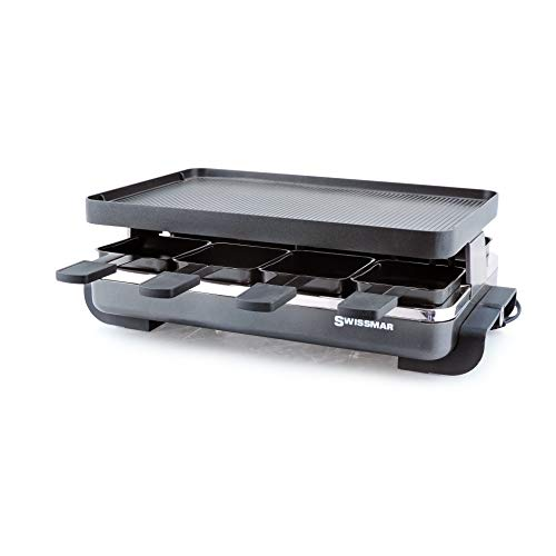 (Swissmar KF-77041 Classic 8-Person Raclette with Reversible Cast Aluminum Non-Stick Grill Plate/Crepe Top, Black)