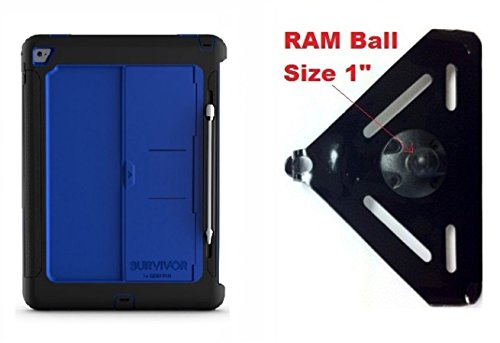 "Price comparison product image SlipGrip RAM 1"" Ball Compatible Mount Designed For iPad Pro 12.9 inch Tablet Griffin Survivor Slim Case"