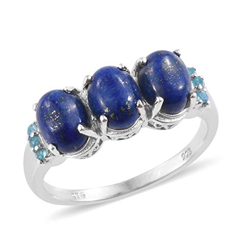925 Sterling Silver Platinum Plated Lapis Lazuli Neon Apatite Statement Ring for Women Jewelry Size 7 ()