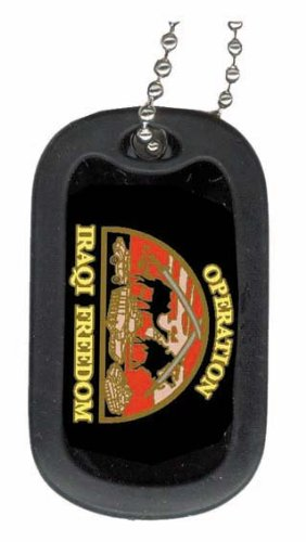 United States Army Operation Iraqi Freedom Veteran Unit Division Rank Logo Symbols - Military Dog Tag Luggage Tag Key Chain Metal Chain Necklace