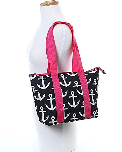 Black Pink Trim Anchors Design Polyester 10 inch Shoulder Strap Insulated Lunch Tote