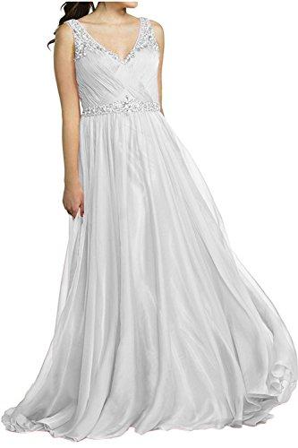 Partykleider Brau Jugendweihe Abendkleider Ausschnitt Langes Formal Kleider mia V Ballkleider La Weiß Brautmutterkleider 5Zwgq04