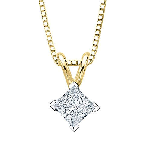 - 1/2 ct. K - VVS2 Princess Cut Diamond Solitaire Pendant Necklace in 14K Yellow Gold