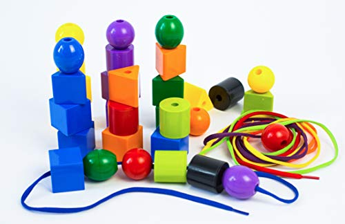 RAINBOW TOYFROG Jumbo Primary STRINGING Bead Set with 30 Biggest Lacing Beads in The Market and 4 Laces ,for Toddlers and Babies, 4 Strings,Occupational Therapy ()