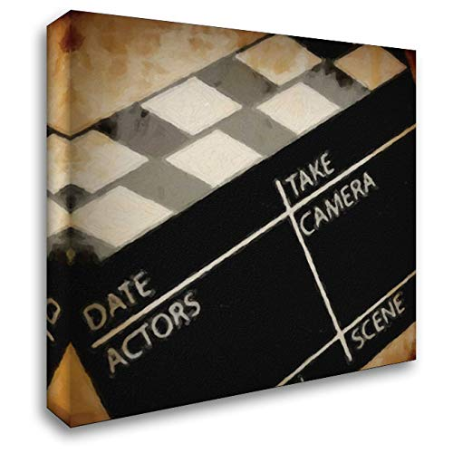 Lights Camera Action_Clapboard 28x28 Gallery Wrapped Stretched Canvas Art by Greene, -