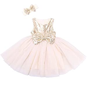 Cilucu Flower Girl Dresses Toddlers Sequin Party Dress Tutu Baby Prom Pageant Dresses Gown Kids Sleeveless Gold/Offwhite 12 Months-2T