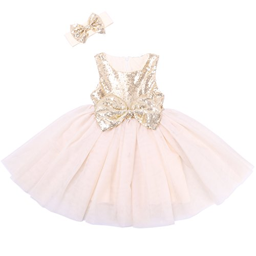 (Cilucu Flower Girl Dresses Toddlers Sequin Party Dress Tutu Baby Prom Pageant Dresses Gown Kids Sleeveless Gold/Offwhite 6-12Months)