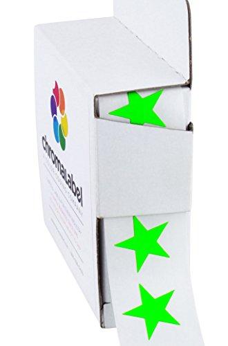 "3/4"" Fluorescent Green Star Stickers in Dispenser Box - 1,000 Labels per Box, Permanent Adhesive"