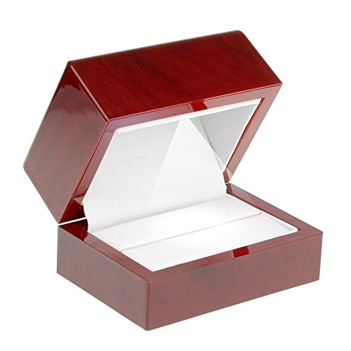 Geff House Cherry Wood Style Plastic Double Ring Box With LED Light (Style Wood Box)