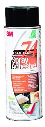 3M Foam Fast 74 Spray Adhesive - Low VOC <25% Orange, 24 fl oz can, Net Weight 19.0 oz (Pack of 1)