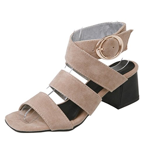 SJJH Roman Sandals with Chunky Heel and Open Toe Fashion Sandal Shoes for Travel Leisure Women Snadals Beige
