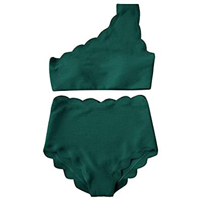 ZAFUL High Waisted Bikini Scalloped Flounced One Shoulder Swimsuit Solid Wavy Edge Swimwear