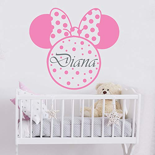 Oisiu Mickey Mouse Wall Sticker Decal Girl Name Wall Decal Minnie Mouse Wall Stickers Kids Room Nursery Decor Personalized Name Wall -