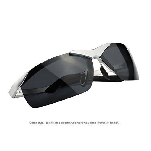 Hommes Polarisées Sport Lunettes De Soleil Al-Mg Cadre métallique (Argent) RS9ot