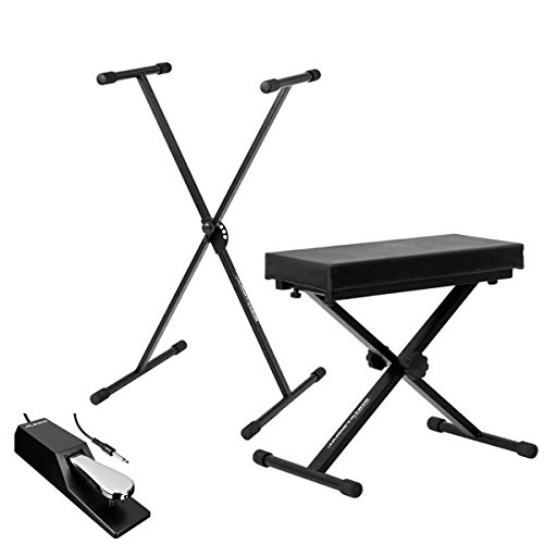Ultimate Support JSXS300 Single Brace X-Style Keyboard Stand + Medium Keyboard Bench + Alesis ASP-2 Universal Piano-Style Sustain Pedal