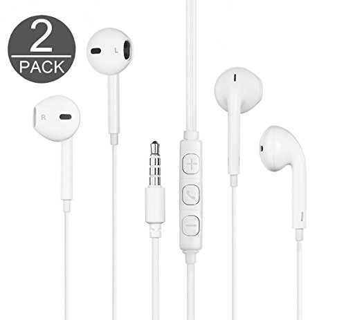 DG Electronics Wired 3.5MM Earphone Earbuds Headphones + 1 EVA Carry Case w/Remote and Microphone for Workout Sports Fitness Sweat Proof (2X White)