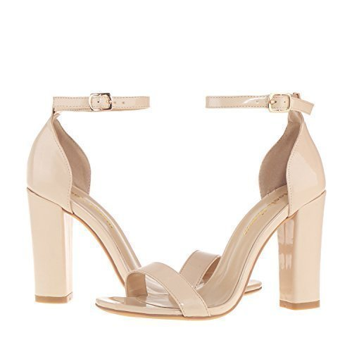 Women's Strappy Chunky High Heel Ankle Strap Sandals Open Toe Dress Sandal for Wedding Birthday Party Evening Office Shoes Patent Leather Nude Size 8.5