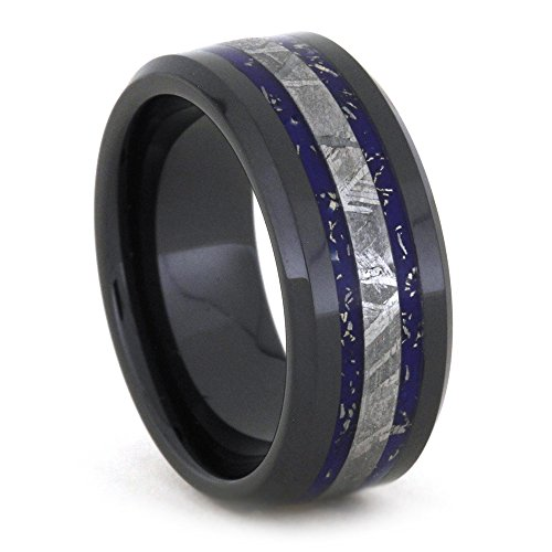 Blue and White Gold Stardust, Gibeon Meteorite 8mm Comfort-Fit Black Ceramic Wedding Band, Size 8 by The Men's Jewelry Store (Unisex Jewelry)