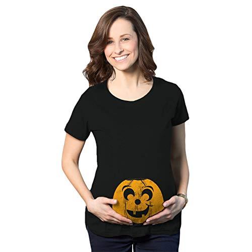 Maternity Halloween Eyebrow Pumpkin Pregnancy Tshirt Funny JackoLantern Tee for Mom to Be (Black) - M