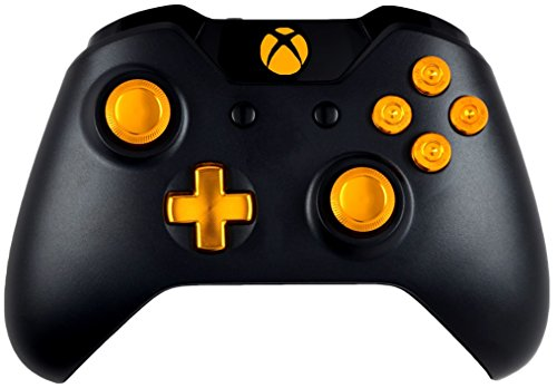 Gold 9MM Xbox One Modded Controller with all Metal Bullet Buttons, Dpad and Thumbsticks, Works On All Games (Xbox 360 Modded Control)