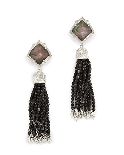 Kendra Scott Misha Clip On Earrings in Rhodium Plated Black Mother of Pearl by Kendra Scott