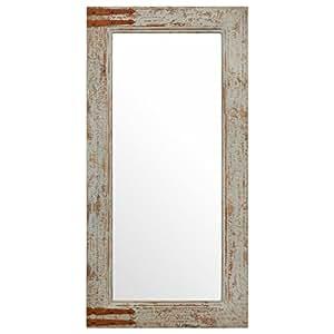 stone beam vintage look rectangular frame mirror grey home kitchen. Black Bedroom Furniture Sets. Home Design Ideas