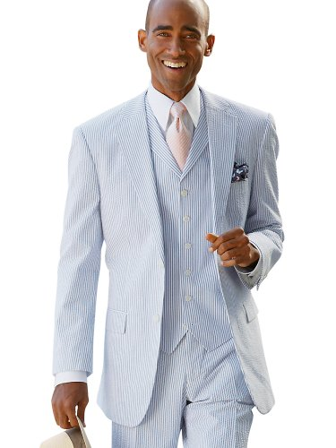 Paul Fredrick Men's 100% Cotton Seersucker Two-Button Suit Separate Jacket