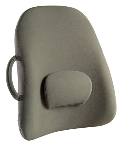 ObusForme Grey Lowback Backrest Support, Removable Adjustable Lumbar Support, Contoured Cushioning Provides Supportive Comfort, Handle For Portability, Hypoallergenic Cover Can Be Removed To Wash