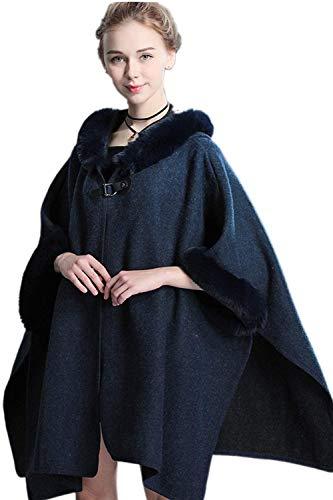 BoBoLily Outwear Chale lgant Fourrure Femme Robes Spcial Chaud Cape paissir Style Hiver avec Navy Longues Manches Etole Le Festive Chale qxErqvIw