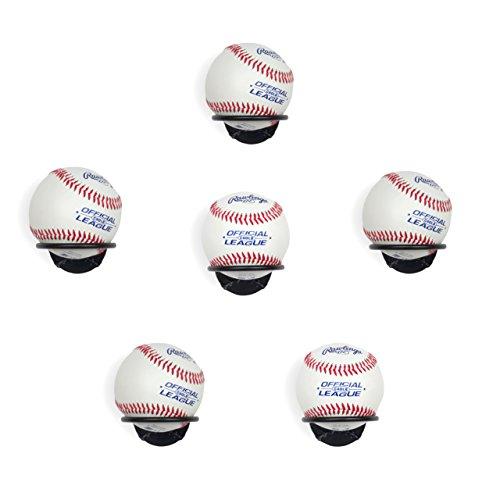Wallniture Sporta Baseball Display Memorabilia Holder Heavy-Duty Wall Mount Ball Rack for Collectibles Steel (6)