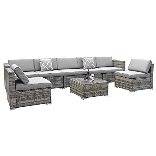 YITAHOME 8 Piece Outdoor Patio Furniture Sets, Garden Conversation Wicker Sofa Set, and Patio Se ...
