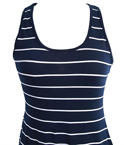 Hengsong Damen Stripe Bodycon Weste Kleid Sommer Ärmellos Strand Urlaub Shirt Midi Kleid