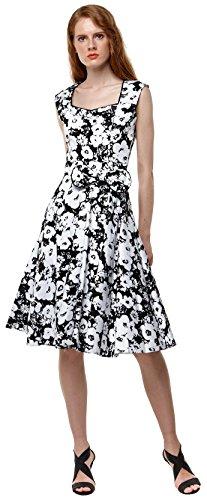 U-shot Lady de flores años 50Retro Rockabilly vestido de boda banquete de mecánico blanco