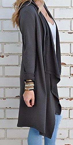 Slim Elegante Invernali Laterali Fit Donna Spacco Cappotti Maglione Tasche Maglieria Tunica Grigio Abbigliamento Maglie Longsleeve Cardigan Moda Autunno Lunghi Vintage q70IwXw