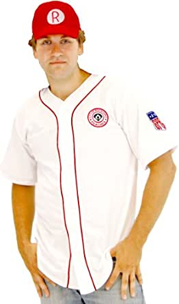 A League of Their Own Rockford Peaches AAGPBL Baseball Mens Costume Jersey & Hat (Adult Small/Medium)