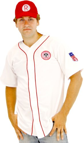 Jimmy Halloween Costume (A League of Their Own Rockford Peaches AAGPBL Baseball Mens Costume Jersey & Hat (Adult)