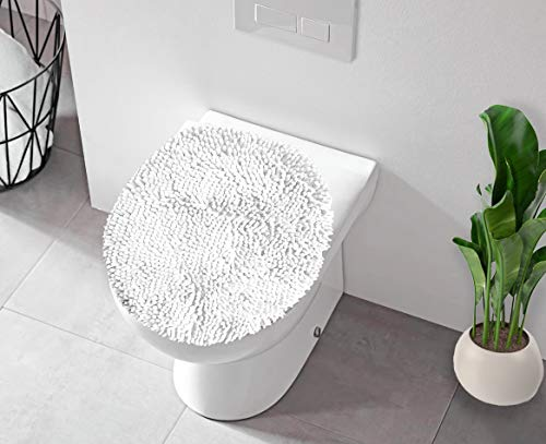 LuxUrux Toilet Lid Cover, Extra-Soft Plush Seat Cloud Washable Shaggy Microfiber Standard Toilet Lid Covers for Bathroom Machine Wash & Dry. (19 x 21 inches, White)