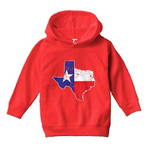 Texas Map - Texan State Pride Cool Toddler/Youth Fleece Hoodie (Red, Large (Youth))