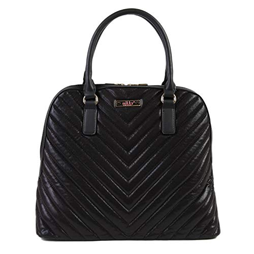 Nikky Quilted Metallic Black Satchel Bag for Women with Zipper Closure Shoulder, One Size