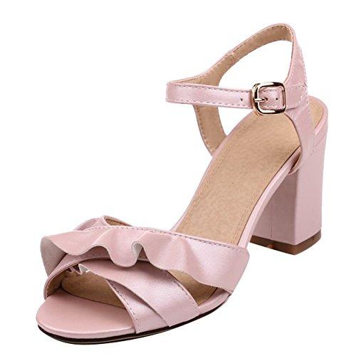 Mee Pink High mit Schnalle Heels Shoes Knöchelriemen Blockabsatz hohem Damen Sandalen qRvrqxwO