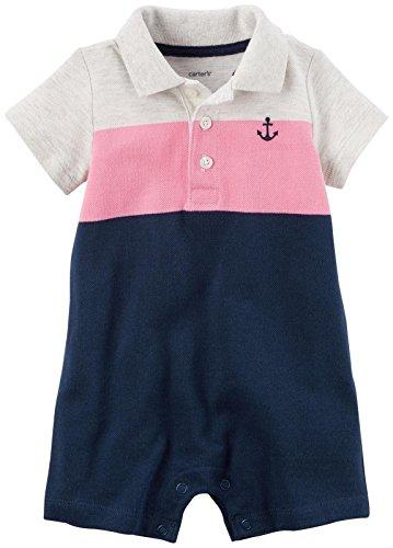 Carter's Stripe Romper - Navy/Pink/Gray - 6 Months