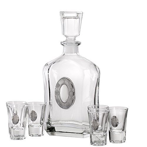 Liquor Decanter Set Crystal Shot Glasses Embellished with Silver Boxed Design Medallions by Judaica Place