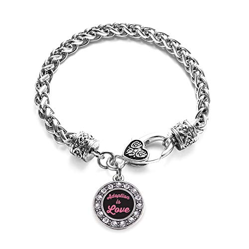 Inspired Silver - Adoption is Love Braided Bracelet for Women - Silver Circle Charm Bracelet with Cubic Zirconia Jewelry