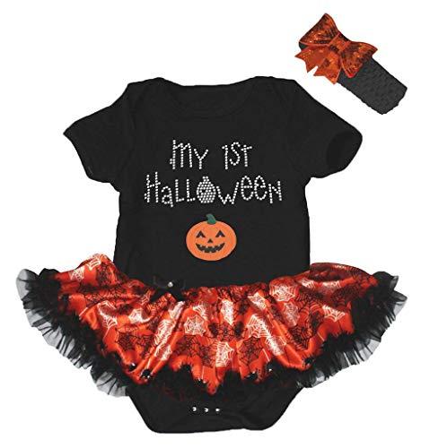 Petitebella My 1st Halloween Pumpkin Bodysuit Tutu Baby Dress Nb-18m (Black/Cobweb, 0-3 Months)]()