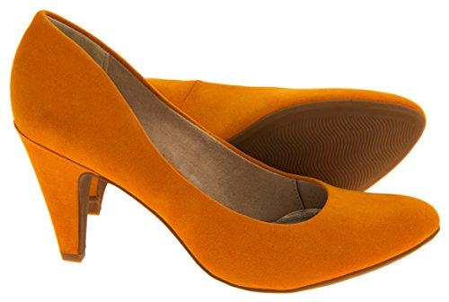 moyen Tozzi court suède Orange Faux Marco talons Femmes chaussures Izq54Fz