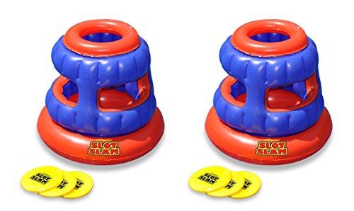Swimline 2 90286 Slot Slam Disc Toss Inflatable Floating Swimming Pool Games